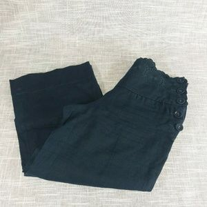 Anthropologie Elevenses Linen Pants Size 0 Eyelet